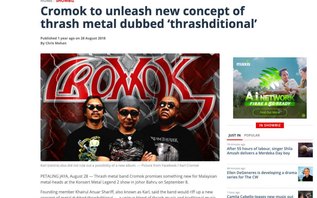 Malaymail : Cromok to unleash new concept of thrash metal dubbed ?thrashditional?